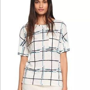 TORY BURCH Linen Grid Print Pocket Tee Stripes XL